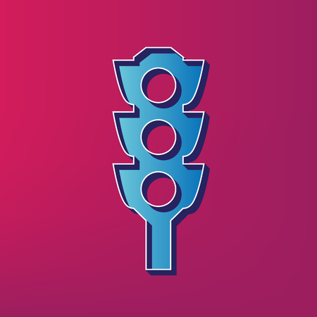 Traffic light sign. Vector. Blue 3d printed icon on magenta background. Illustration