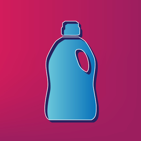 Plastic bottle for cleaning. Vector. Blue 3d printed icon on magenta background.