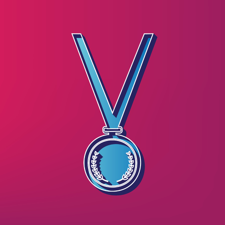 Medal simple sign. Vector. Blue 3d printed icon on magenta background.