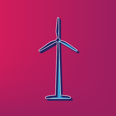 Wind turbine  sign. Vector. Blue 3d printed icon on magenta background.