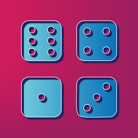probability: dice sign. Vector. Blue 3d printed icon on magenta background.