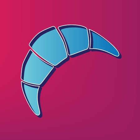 Croissant simple sign. Vector. Blue 3d printed icon on magenta background.