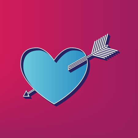 cor: Arrow heart sign. Vector. Blue 3d printed icon on magenta background.