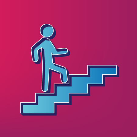 Man on Stairs going up. Vector. Blue 3d printed icon on magenta background.