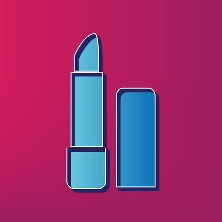 perfumery: Pomade simple sign. Vector. Blue 3d printed icon on magenta background.