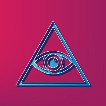 ojo de horus: Todos viendo el símbolo de la pirámide del ojo. Francmasón y espiritual. Vector. Icono impreso 3d azul sobre fondo magenta. Vectores