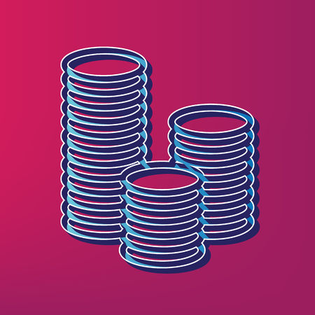 earn money: Money sign illustration. Vector. Blue 3d printed icon on magenta background.
