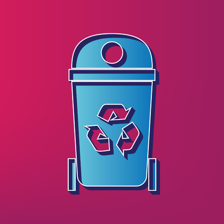 Trashcan sign illustration. Vector. Blue 3d printed icon on magenta background. Иллюстрация