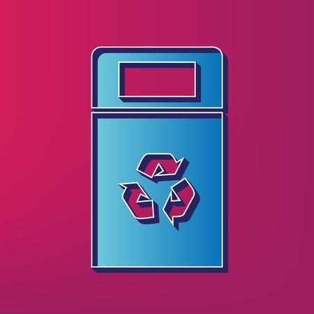 trashing: Trashcan sign illustration. Vector. Blue 3d printed icon on magenta background. Illustration