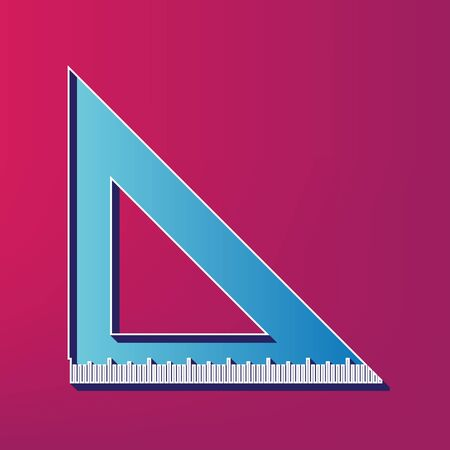 scale icon: Ruler sign illustration. Vector. Blue 3d printed icon on magenta background. Illustration