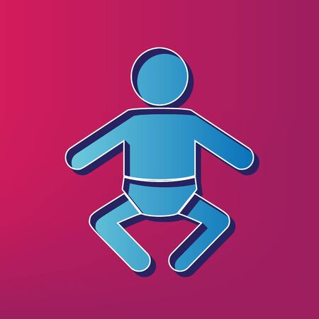 Baby sign illustration. Vector. Blue 3d printed icon on magenta background.