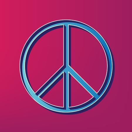 Illustrazione del segno di pace Vettore. Icona stampata 3d blu su fondo magenta.