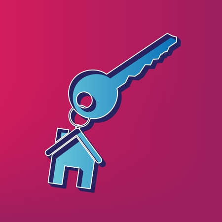 key with keychain as an house sign. Vector. Blue 3d printed icon on magenta background. Illustration