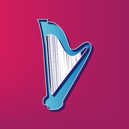symphonic: Musical instrument harp sign. Vector. Blue 3d printed icon on magenta background. Illustration