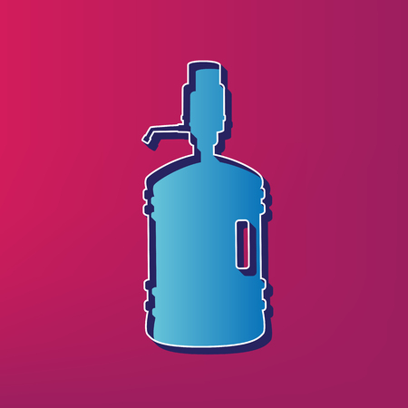 siphon: Plastic bottle silhouette with water and siphon. Vector. Blue 3d printed icon on magenta background.