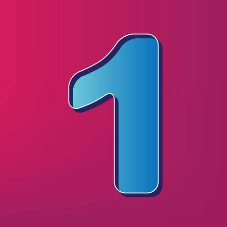 Number 1 sign design template element. Vector. Blue 3d printed icon on magenta background.