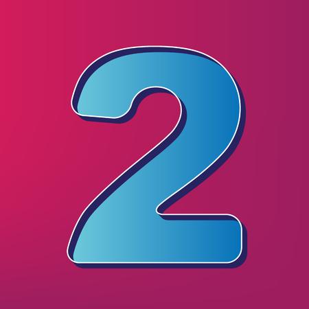 Number 2 sign design template elements. Vector. Blue 3d printed icon on magenta background. Ilustração