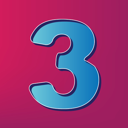 Number 3 sign design template element. Vector. Blue 3d printed icon on magenta background.