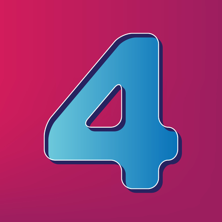 Number 4 sign design template element. Vector. Blue 3d printed icon on magenta background.