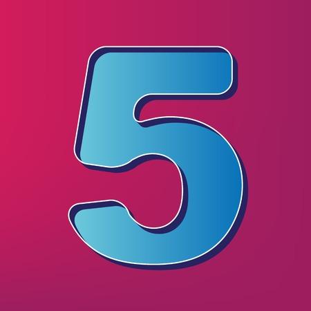 Number 5 sign design template element. Vector. Blue 3d printed icon on magenta background. Ilustração