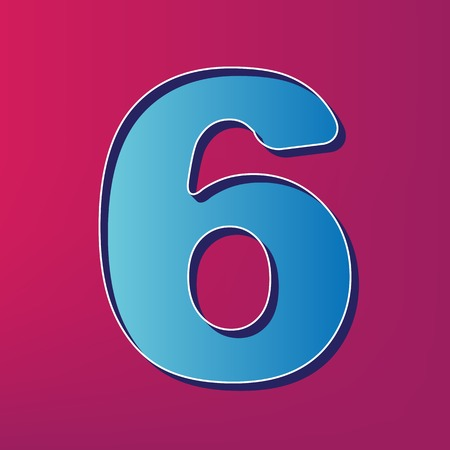 Number 6 sign design template element. Vector. Blue 3d printed icon on magenta background.