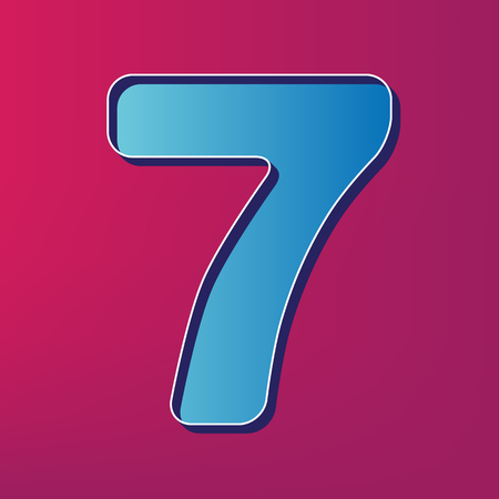 Number 7 sign design template element. Vector. Blue 3d printed icon on magenta background.