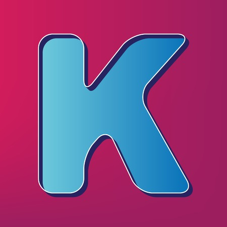 Letter K sign design template element. Vector. Blue 3d printed icon on magenta background.