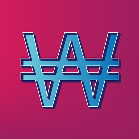 won: Won sign. Vector. Blue 3d printed icon on magenta background.