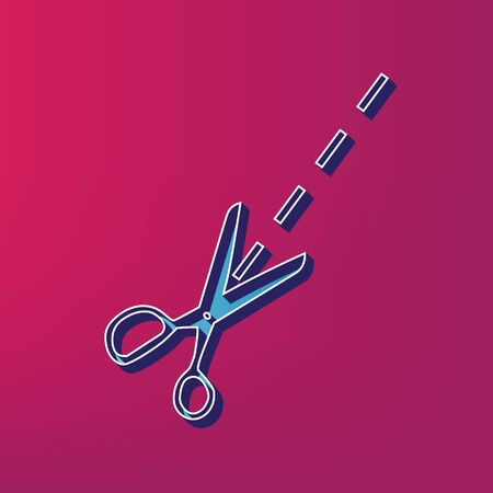 Scissors sign illustration. Vector. Blue 3d printed icon on magenta background.