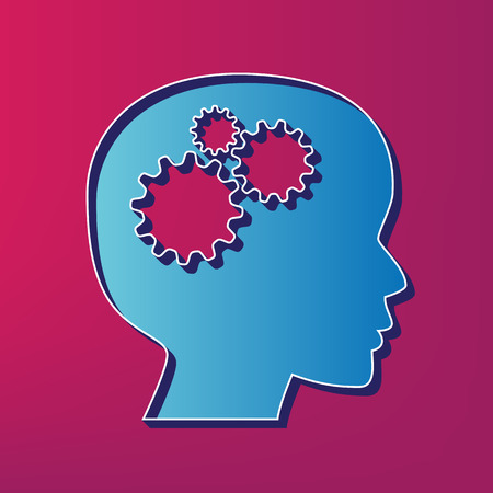 man profile: Thinking head sign. Vector. Blue 3d printed icon on magenta background. Illustration