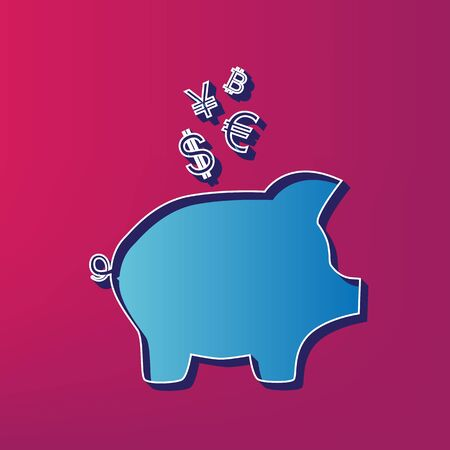 Piggy bank sign with the currencies. Vector. Blue 3d printed icon on magenta background.