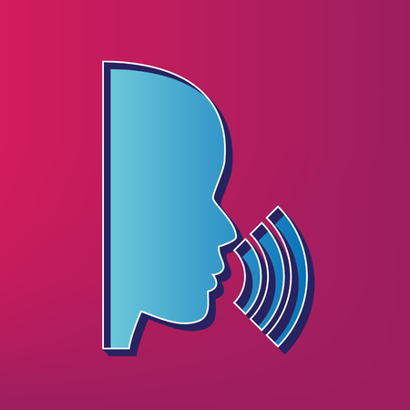 man profile: People speaking or singing sign. Vector. Blue 3d printed icon on magenta background.