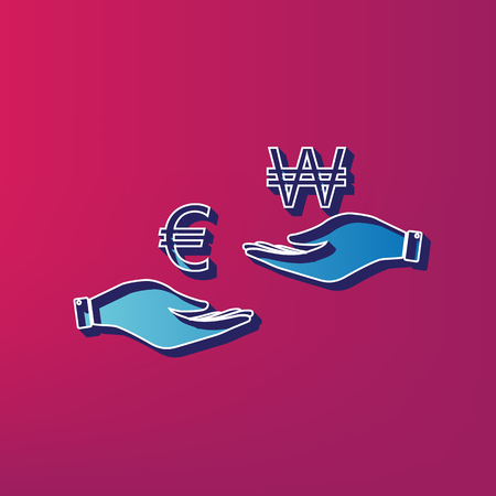 lira: Currency exchange from hand to hand. Euro and Won. Vector. Blue 3d printed icon on magenta background.