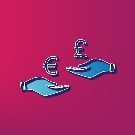 Currency exchange from hand to hand. Euro and Pound. Vector. Blue 3d printed icon on magenta background. Illustration