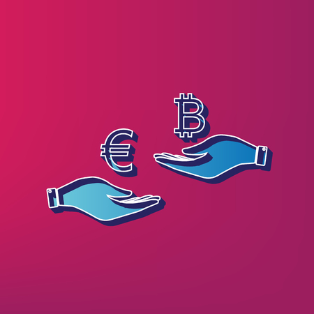 lira: Currency exchange from hand to hand. Euro an Bitcoin. Vector. Blue 3d printed icon on magenta background.