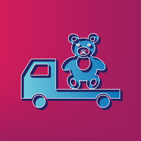 Truck with bear. Vector. Blue 3d printed icon on magenta background. Illustration