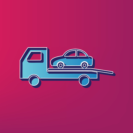 evacuate: Tow car evacuation sign. Vector. Blue 3d printed icon on magenta background.