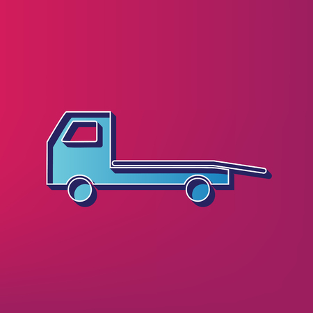 auto service: Service of evacuation sign. Wrecking car side. Car evacuator. Vehicle towing. Vector. Blue 3d printed icon on magenta background.