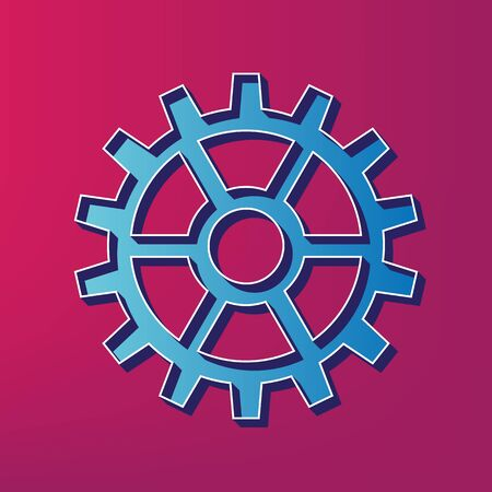 Gear sign. Vector. Blue 3d printed icon on magenta background.