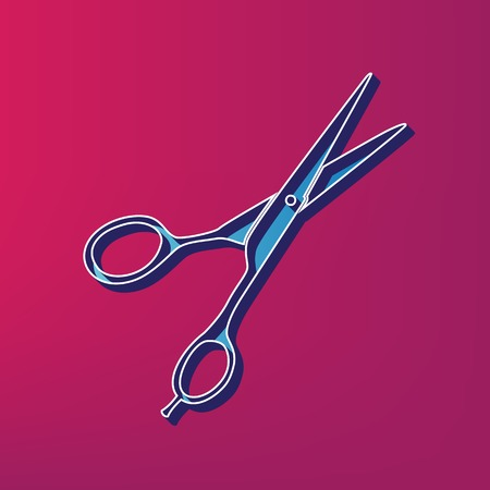 Hair cutting scissors sign. Vector. Blue 3d printed icon on magenta background.