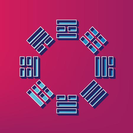 taijitu: Bagua sign. Vector. Blue 3d printed icon on magenta background. Illustration