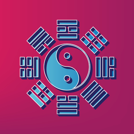 taijitu: Yin and yang sign with bagua arrangement. Vector. Blue 3d printed icon on magenta background. Illustration