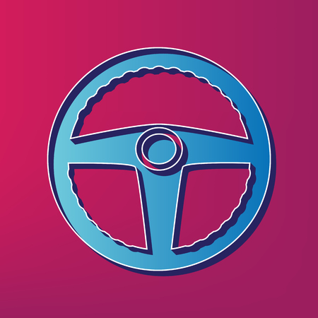 auto service: Car driver sign. Vector. Blue 3d printed icon on magenta background.