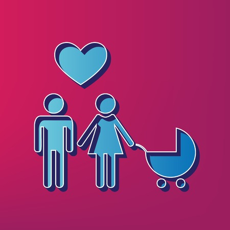 Family symbol with pram and heart. Husband and wife are kept each other`s hands. Love. Vector. Blue 3d printed icon on magenta background. Illustration