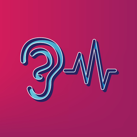 audible: Ear hearing sound sign. Vector. Blue 3d printed icon on magenta background.