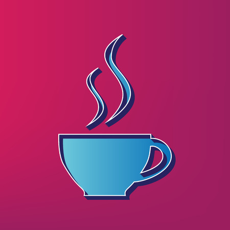 Cup sign with two small streams of smoke. Vector. Blue 3d printed icon on magenta background.
