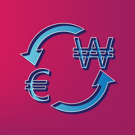 Currency exchange sign. Euro and South Korea Won. Vector. Blue 3d printed icon on magenta background. Illustration