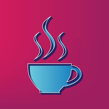 Cup sign with three small streams of smoke. Vector. Blue 3d printed icon on magenta background. Illustration