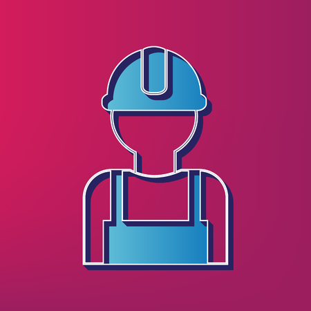 man profile: Worker sign. Vector. Blue 3d printed icon on magenta background. Illustration