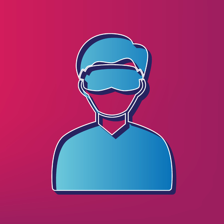 Man with sleeping mask sign. Vector. Blue 3d printed icon on magenta background. Illustration